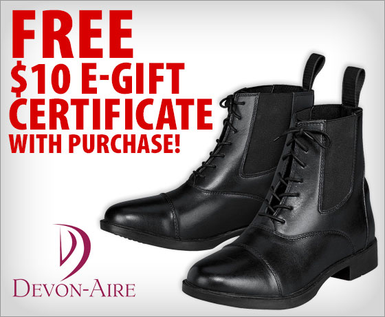 FREE $10 E-Gift Certificate with purchase of Devon-Aire® Ladies' & Child's Lake Ridge Paddock Boots†!