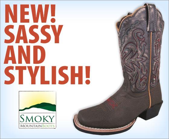 New! Sassy and stylish! Smoky Mountain Child's Fusion #2 Square Toe Boots!