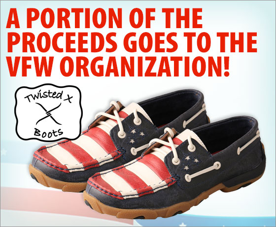 Twisted X® Ladies' USA Driving Mocs†! A portion of the proceeds goes to the VFW organization!