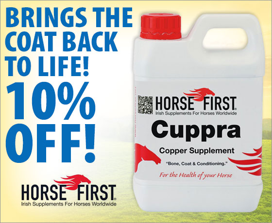 Brings the coat back to life! 10% off Horse First® Cuppra Copper Supplement†!