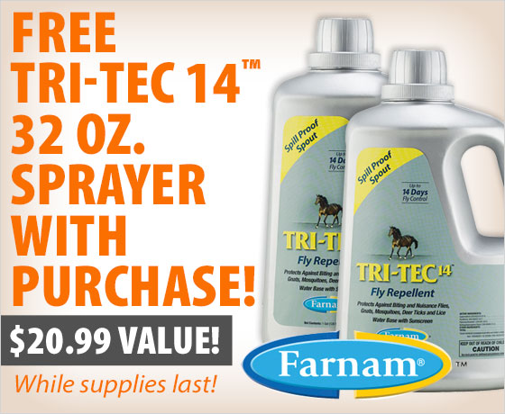 FREE Tri-Tec 14™ 32 oz. Sprayer with purchase of the Farnam® Tri-Tec 14™ Fly Repellent Gallon 2-Pack!