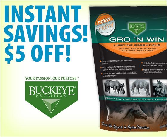 Instant savings! $5 off the Buckeye® Nutrition Gro 'N Win®!