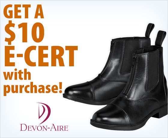 Get a $10 E-Cert with purchase of the Devon-Aire® Childs' & Ladies' Lake Ridge Paddock Boots†!