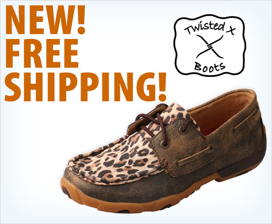 New! Free shipping on the Twisted X® Ladies' Leopard Driving Mocs†!