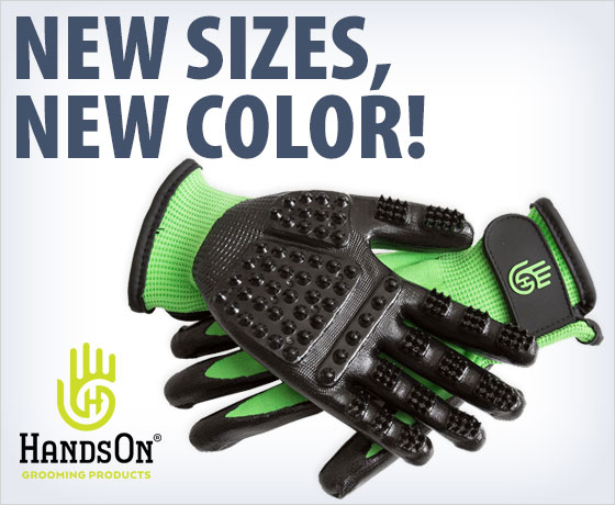 New sizes, new color! HandsOn® Grooming Gloves†!
