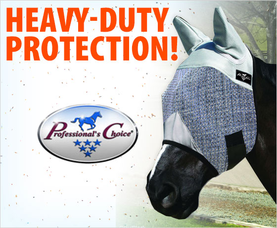 Heavy-duty protection! Professional's Choice® Fly Mask With Ears!