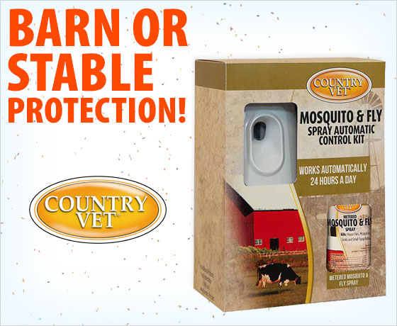 Barn or stable protection! Country Vet™ Equine Mosquito and Fly Control Kit!