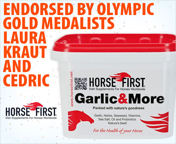 Endorsed by Olympic Gold Medalists Laura Kraut and Cedric! Horse First® Supplements†!