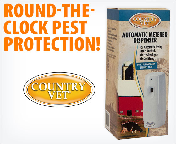 Round-the-clock pest protection! Country Vet® Automatic Metered Dispenser!