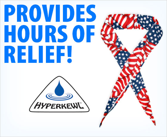 Provides hours of relief! HyperKewl™ Evaporative Cooling Neck Band!