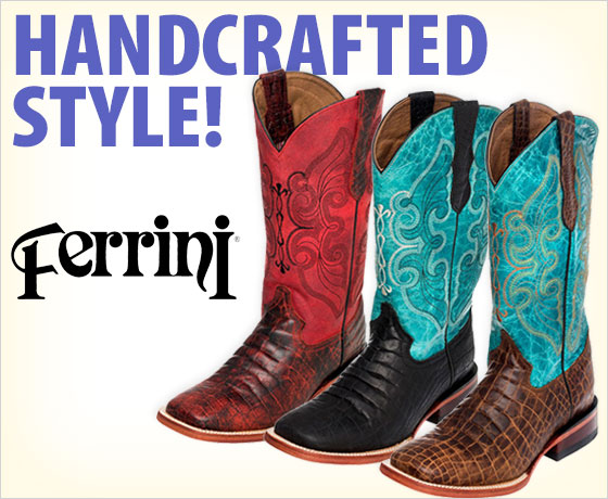 Handcrafted style! Ferrini® Ladies' Print Belly Croc Square Toe Boots!