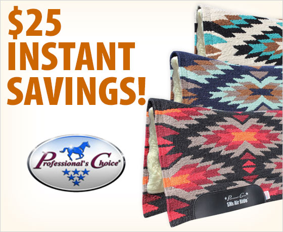 $25 instant savings on the Professional's Choice® SMX Thunder Bird Wool Saddle Pad†!