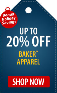 Bonus Holiday Savings Up to 20% Off on Baker� Apparel!
