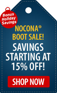 Bonus Holiday Savings Nocona Boot Sale! Savings Starting at 15% Off!