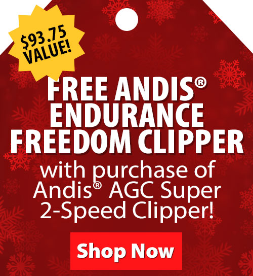 Free Andis Endurance Freedom Clipper when you purchase Andis AGC Super 2-Speed Clipper with T-84 Blade!