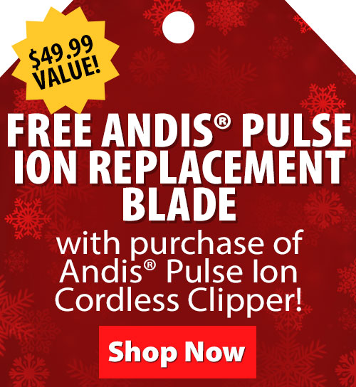 Free Andis Pulse Ion Replacement Blade with purchase of Andis Pulse Ion Cordless Clipper