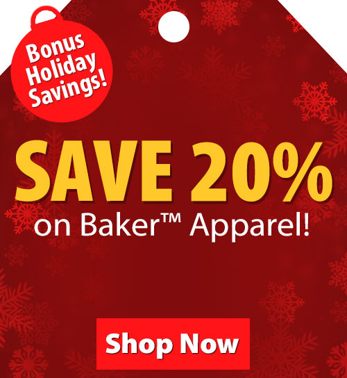 Save over 20% on Baker Apparel!
